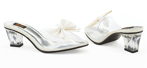 2 Inch Heel Clear Costume Pumps w/ White Bow - Size 6