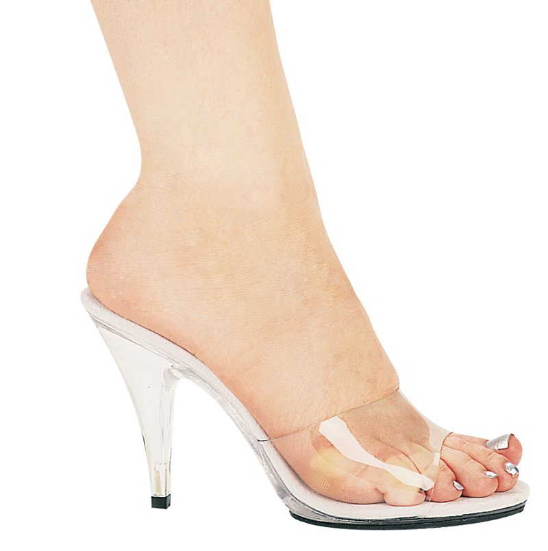 CLEAR 4 Inch Stiletto Heel Mule - Size 8