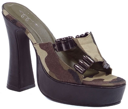 "5"" Heel Camouflage Fabric Faux Bullets Sandals - Size 10"