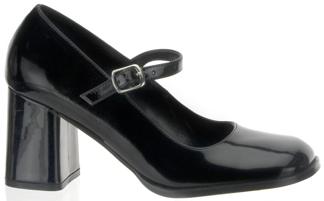 Black Patent 3 Inch Block Heel Mary Jane Pump - Size 14