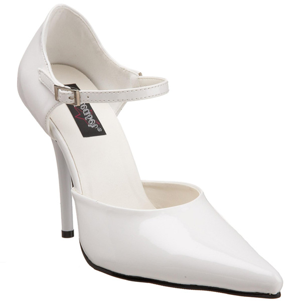 "White 4 1/2"" Stiletto Heel Pointed Toe D'Orsay Pumps - Size 10"