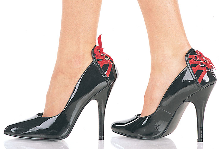 BLACK 5 inch stiletto heel classic pump rear red lacing - Size 7